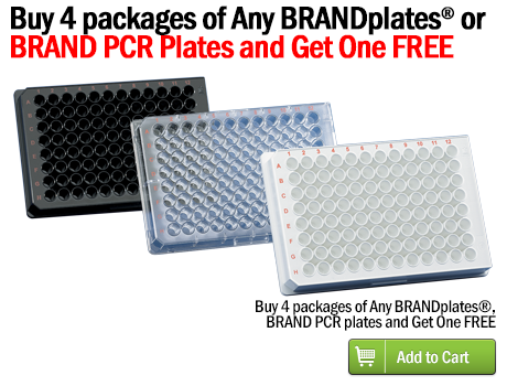Buy 4 packages of any BRANDplates® orBRAND PCR plates and Get One FREE