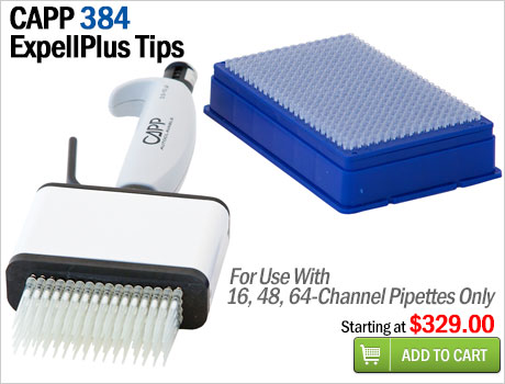 capp 384 pipette tips for 16, 48, 64 channel pipettes on sale at pipette.com