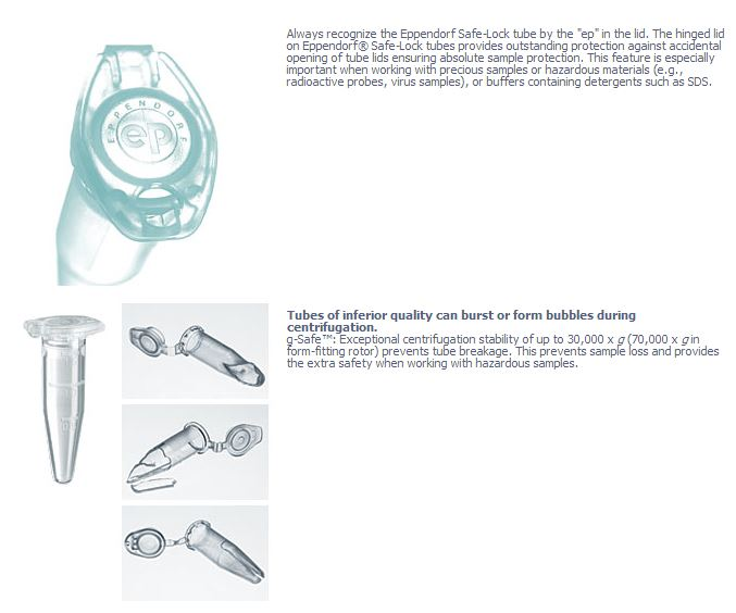 Eppendorf Safe-Lock Centrifuge Tubes