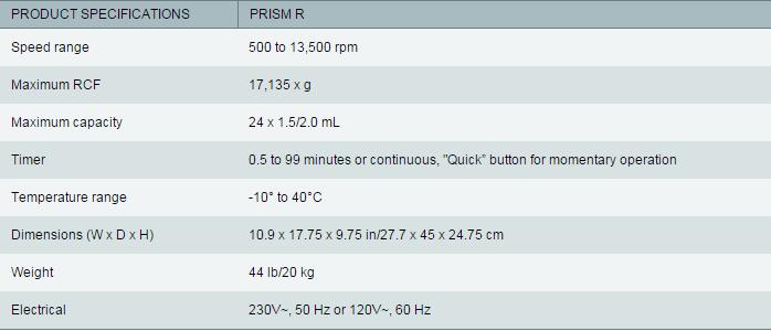Labnet Prism R Centrifuge Specs