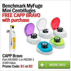 Buy 1 Benchmark MyFuge Mini Centrifuge Get 1 Capp Bravo Pipette FREE