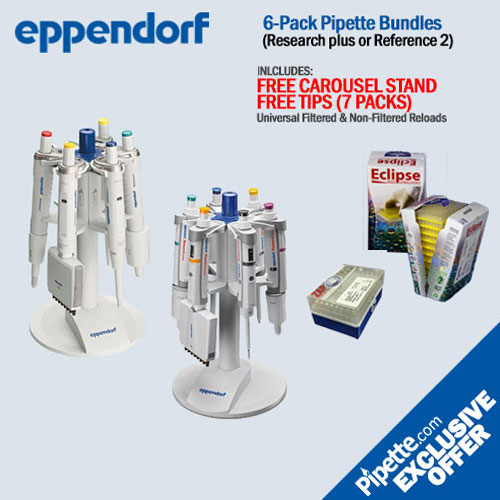 Eppendorf 6-Pack Pipette Bundle FREE carousel and tips