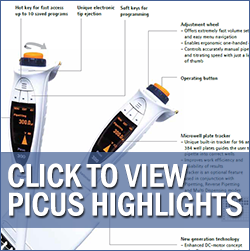 ergonomic electronic pipette features - biohit picus